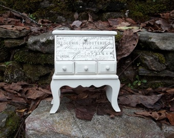 French Country Shabby Chic Decoupage Miniature Secretary Desk Tabletop Jewelry Box