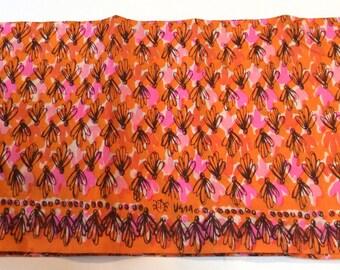 Vintage 1960s Orange and Pink Vera Neumann Silk Graohic Obi/Wide Sash--Amazing! MCM