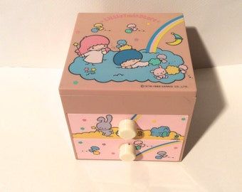 Vintage 1976 Little Twin Stars Sanrio Jewelry Box with 2 drawers and Mirror