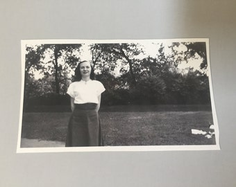 VINTAGE Picture of LADY in park,vintage black & white photo,vintage picture of woman,lady standing in park,outdoor picture,lifestyle picture