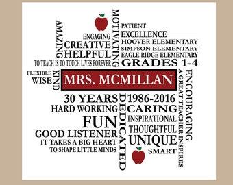 Teacher Appreciation Gift, Teacher Retirement Gift, Personalized Teacher Gift, Christian Teacher, Teacher Retiree, Teacher Word Art