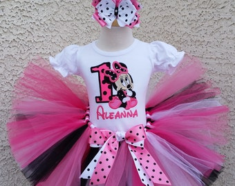 Baby Minnie Mouse Pink and Black Dot Birthday Number Tutu -Personalized Birthday Tutu,Sizes 6m - 14/16