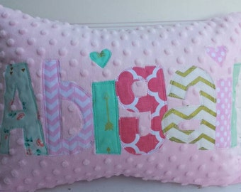 personalized applique name pillow- personalized throw pillow-girls throw pillow