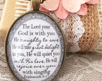 Zephaniah 3:17 Pendant Necklace