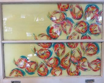 Hand Painted Window, Shrimp Painting, Fish Painting, Sea Life, PAinted Window, Repurposed Window, Home Decor, Wall Decor