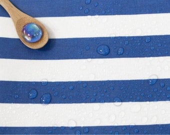 Laminated Linen Fabric Blue Stripe By The Yard