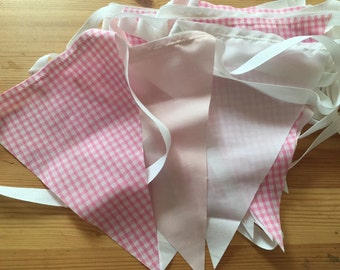 Pink cheque fabric bunting