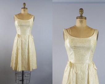 50s Suzy Perette Ivory Rose Dress  / 1950s Ivory Dress / Wedding Dress