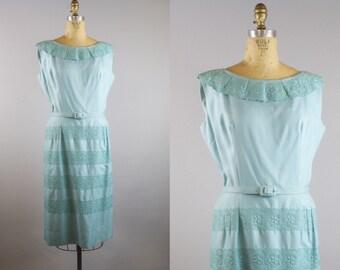 Seaside Rendezvous Linen Dress  / 1950s Dress / 50s Blue Linen Dress