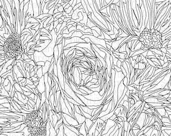 Flowers Printable Adult Coloring Page Instant Download #3
