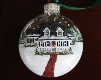 Handpainted Custom House Ornament w/ Landscape, Personalized