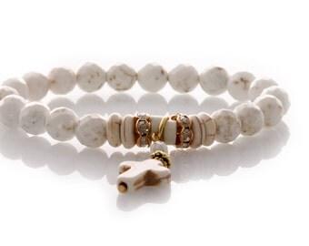 Calming Bracelet  - Natural Howlite - Natural Healing Gemstone Bracelet - Ivory Howlite - Dangle Crucifix -  Code: KTC-310