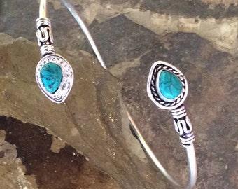 Turquoise Bangle Silver Plated Bracelet  Indian Jewelry Gemstone Ethnic Bangle Adjustable Bracelet Boho Bohemian Bracelet Hippie Bracelet
