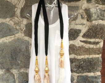 Fringe Gold and Cotton Scarf or Necklace