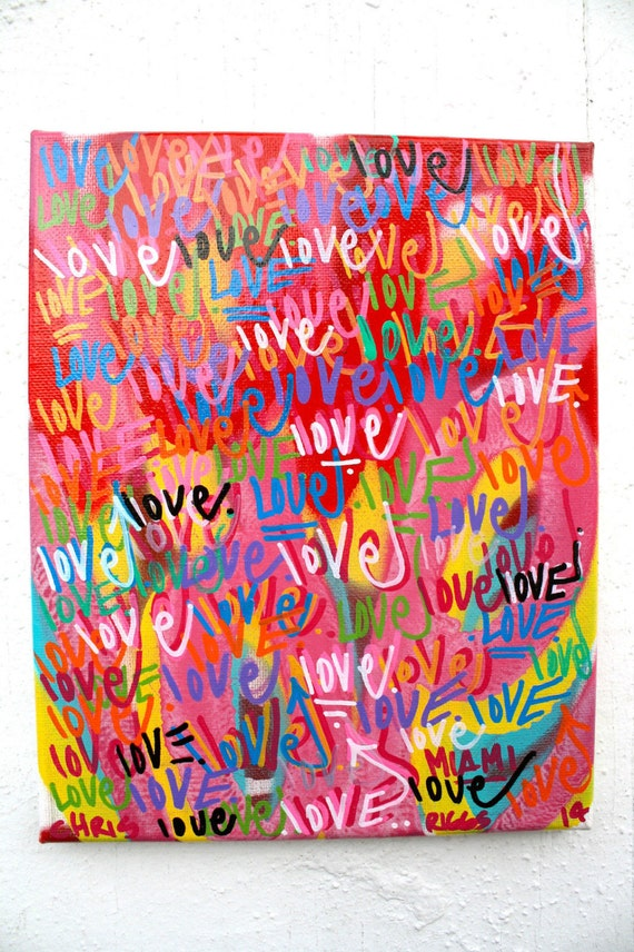 chris riggs love and peace original painting modern word. Black Bedroom Furniture Sets. Home Design Ideas