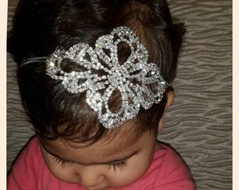 Sale!!!! Baby girls rhinestone diamante crystal headband. Wedding christening photo prop headband.