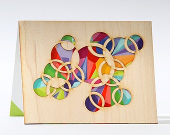 Blank Greeting Cards , Abstract Card, Colorful Circles Greeting Card, Wood Cards, Note Card with Envelope, Art Note Card, Blank Card