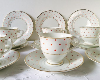 Set of 6 Trios, Red & White Spots, Staffordshire, 1940s.