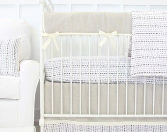 Tomlin's Neutral Triangles Bumperless Baby Bedding | 2 or 3 Piece Boy Crib Set | Cotton Linen Crib Bedding
