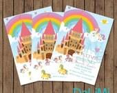 5 x 7 inch Rainbow Princess Unicorn Birthday Invitations - Unicorn Invitation - Pony Invitation - Printable Invitation!