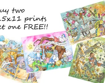 Buy Two Prints Get One Free, Giclee Prints, Wall Art, Baby Shower Decorations, Kitchen Decor, Illustration Print, Watercolor Painting