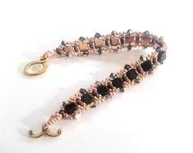 Beadwoven bracelet,swarovski bracelet,   tile beads,  swarovski crystal, handmade bracelet, gold and black bracelet, seed beads bracelet