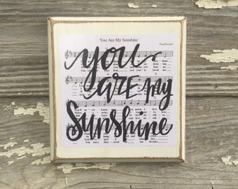 You are my Sunshine // hand lettered distressed wood sign // nursery decor