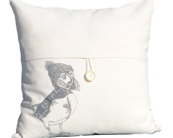 """Puffin Throw Pillow Cover - 18"""" x 18"""" Throw Pillow Cover - Cream Color Linen Blend - Screen Printed Animal Couch Pillows"""