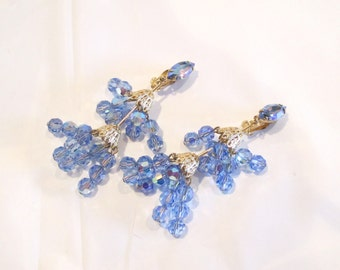 Bring It on Bling - Blue Crystal Aurora Borealis Chandelier Clip On Earrings By LEWIS SEGAL of California Signed on Back, Mint Condition!