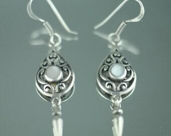 Vintage sterling silver earrings Mother of pearl sterling 925 nice solid gift
