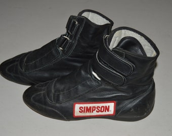 Vintage Simpson Racing Shoes Size 8 Black Leather USA Made