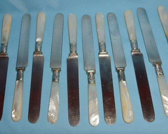 12 Gorham Mother Of Pearl Butter Knives