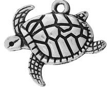 4 Sea Turtle Charms Swimming Turtles Tortoise Ocean Creature 4380