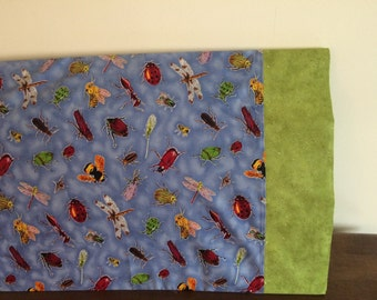 Childs Pillowcase in Blue with Bugs and Insects-- Ants Ladybugs Stinkbugs Grasshoppers Beetles Bees Stinkbugs Dragonflys Ladybugs ...