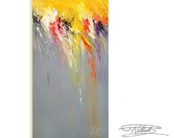 """Large Abstract Painting 61.0 """" x 31.5 """" Original XL Acrylic Yellow, Black, White, Anthracite, Pink."""