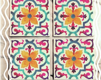 Floral Watercolor Tile Coasters