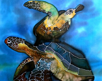 Print of Original Silk Painting - Turtles Together.
