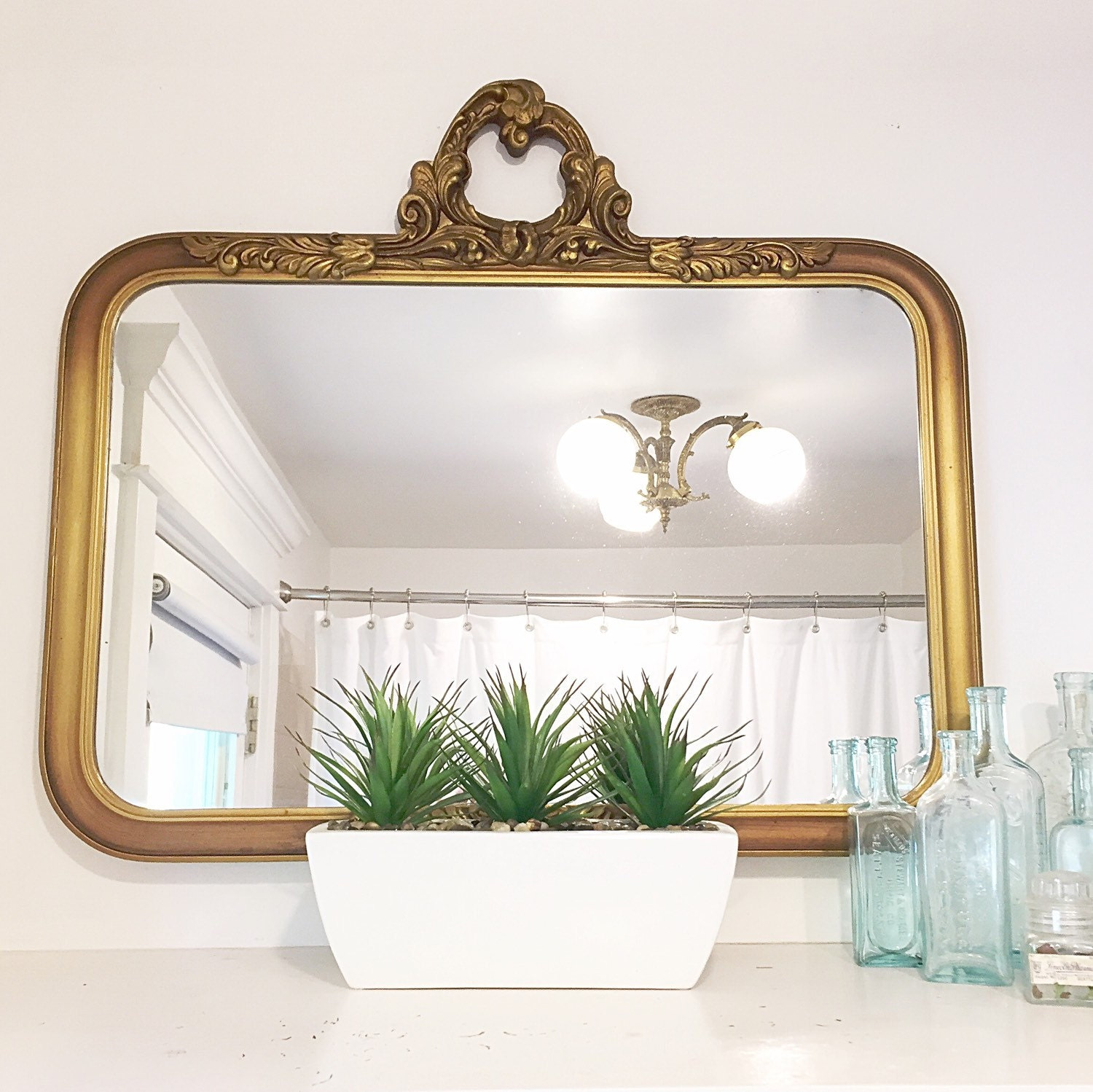 bathroom mirror vintage antique mirror gold gilt frame bathroom mirror ornate wood 11107