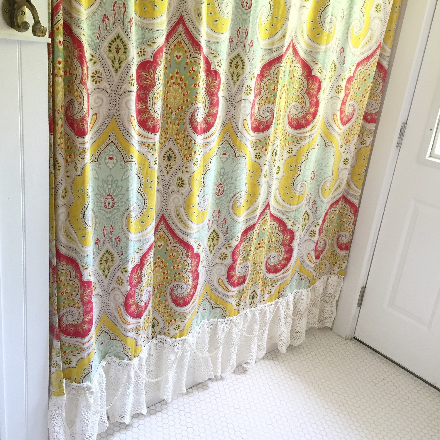 French Country Shower Curtain Bohemian Ruffle Shabby Chic Lace