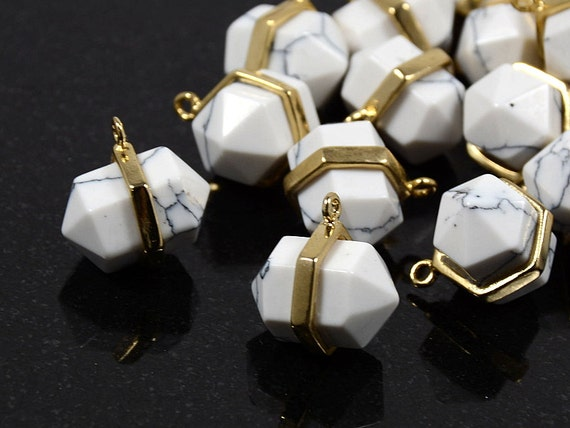 Hexagon Pointed Gemstone Pendant Charm with White Marble Stone in Anti-tarnish Gold Plating  - 2 pcs/ order