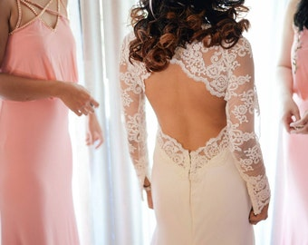 Beautiful Lace Wedding Dress With Key Hole Back Wedding Gown long sleeve wedding dress lace sleeves