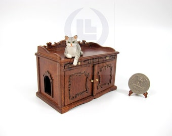 miniature 112 scale cat litter box cover and cabinet for doll house finished in walnut cat litter box covers furniture