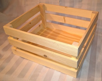 Wooden Storage Crate - Unfinished Wood Box - Stackable Display Bin