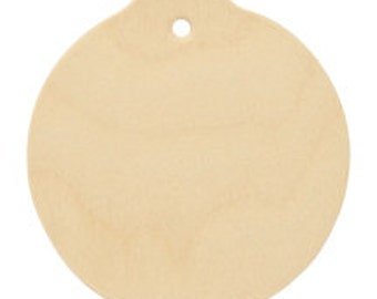 "25 Wood Ornament Circle Cut Out w/ Hole 2-1/2"" tall x 2-3/8"" wide x approx 1/8"" thick