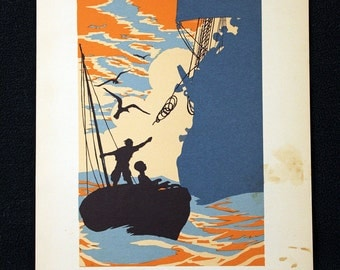 E.A. Verplleux Color Illustration Lithograph from Robinson Crusoe #5 * Delightful 1931 Childrens Book Page Print Beautiful Full Color