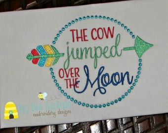 Nursery Rhyme Embroidery Design Cow Jumped Over the Moon