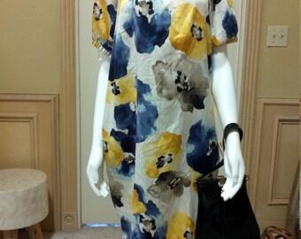 Summer Dress/Floral Vera Wang Dress/Embellish Floral Dress/Shift Summer Dress/ Size S