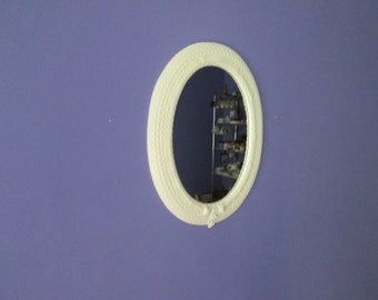 Upcycled Off White Oval Vertical Wall Mirror Oval mirror Faux Wicker mirror Syroco mirror Baby Girls room decor Nursery decor kids room