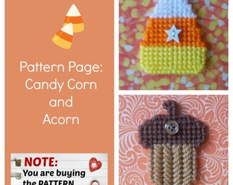"Plastic Canvas Pattern Page: ""Candy Corn and Acorn"" (2 designs, graphs and photos, no written instructions) ***PATTERN ONLY!***"