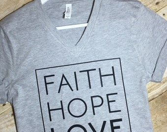 Christian Shirts , faith hope love, Corinthians, christian v neck, Soft T-shirt, God, Bible,  v-neck - BEST SELLING - Christian shirt - soft